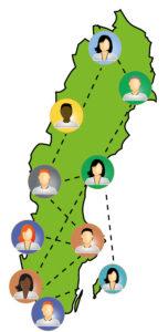 Karta över sverige med personer som nätverkar