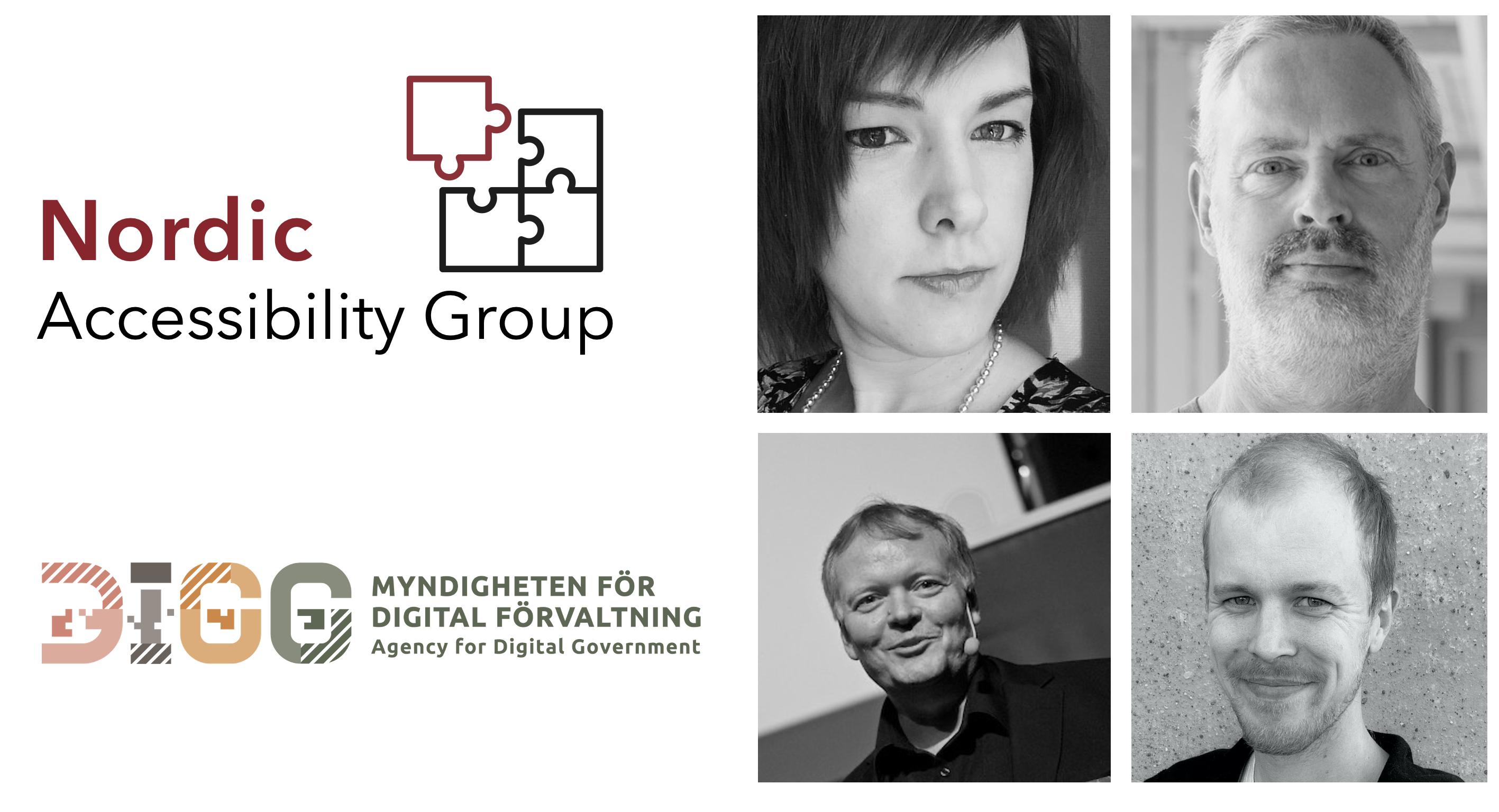 DIGG och Nordic Accessibility Groups logotyper samt bilder på experterna, Sandra Eriksson, Tommy Olsson, Stefan Johansson och Hampus Sethfors