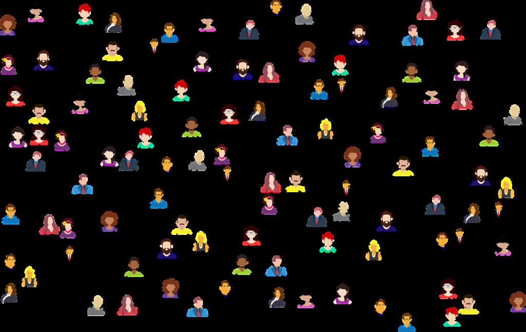 Illustration, personer som nätverkar